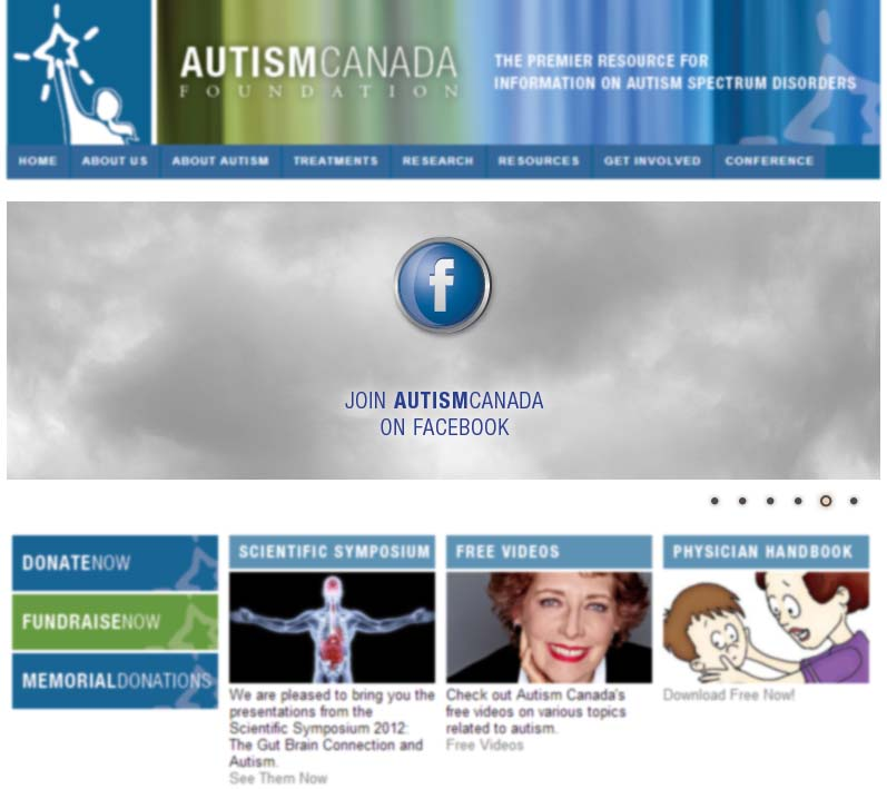 Screenshot of Autism Canada